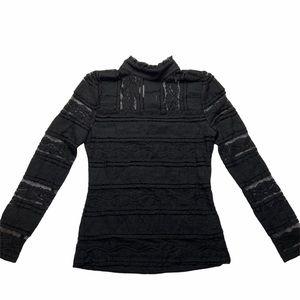 NWT Bebe mock neck lace panel top black sz small